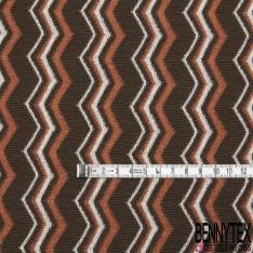 Coupon 3m Maille Jacquard Motif rayure zigzag blanc orange et kaki