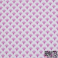 Coton imprimé Motif éventail japonisant ton rose et gris perle