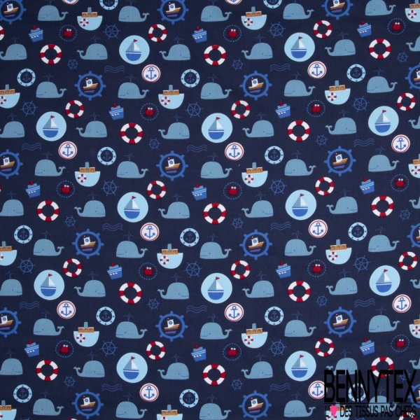 Coton imprimé Motif thème marin Fond bleu marine