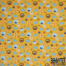 Coton imprimé Motif thème marin Fond moutarde