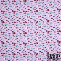 Coton imprimé Motif poissons Fond lilas