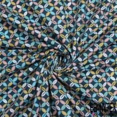 Coton imprimé Motif trèfle à quatre feuilles Fond bleu canard
