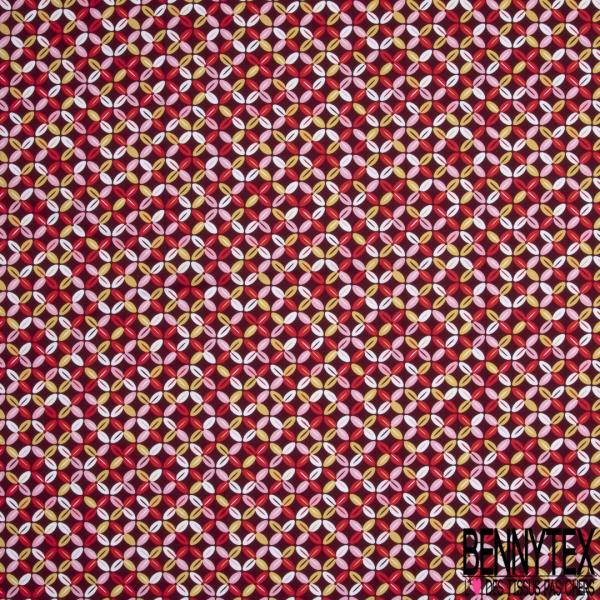 Coton imprimé Motif trèfle à quatre feuilles Fond bordeaux