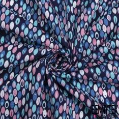 Coton imprimé Motif plume ovale rose et ton bleu Fond bleu marine
