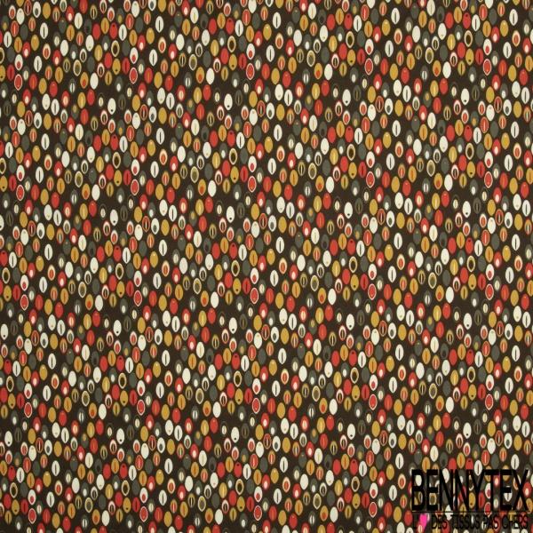 Coton imprimé Motif plume ovale orange et ton vert Fond kaki