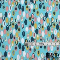 Coton imprimé Motif plume ovale multicolore Fond bleu turquoise