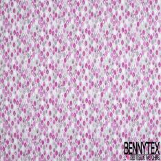 Coton imprimé Motif plume ovale ton gris et rose Fond gris perle