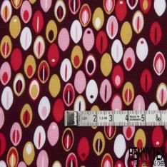 Coton imprimé Motif plume ovale rouge et rose Fond bordeaux