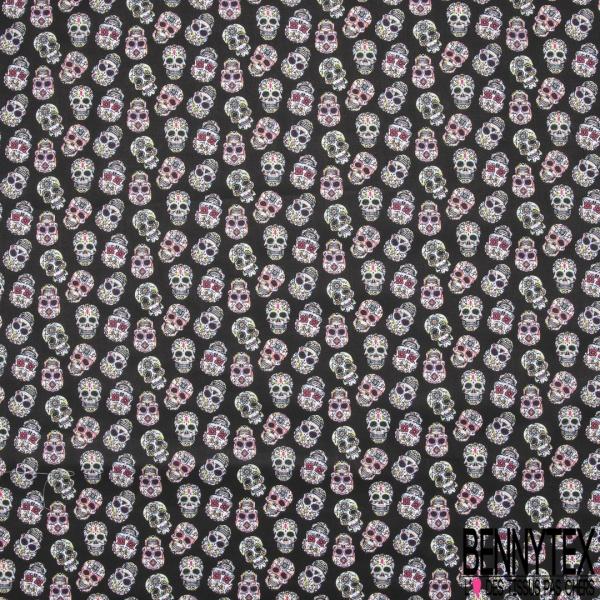 Coton imprimé motif tête de mort fantaisie Fond noir