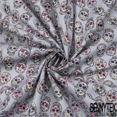 Coton imprimé motif tête de mort fantaisie Fond gris