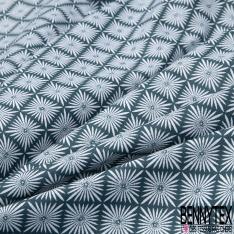 Coton imprimé motif étoile fantaisie Fond bleu canard
