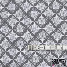 Coton imprimé motif étoile fantaisie Fond gris