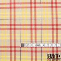 Fibrane Viscose Imprimé Motif carreaux jaune et rouge Fond beige