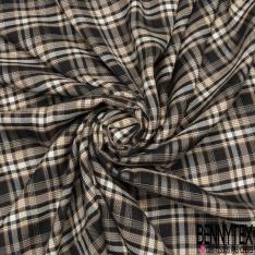 Fibrane Viscose Imprimé Motif carreaux camel et blanc Fond noir