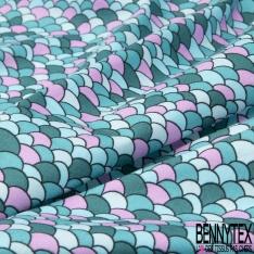 Coton imprimé motif écaille ton bleu et rose