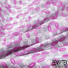 Coton imprimé motif trèfle à quatre feuilles Fond gris clair
