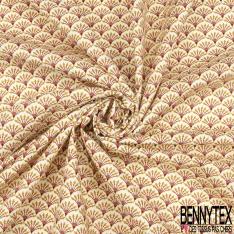 Coton imprimé motif éventail japonisant ton corail et jaune pâle