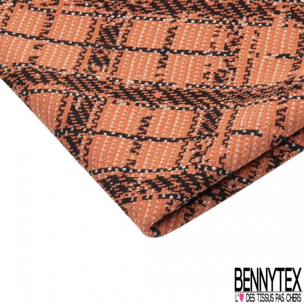 Coupon 3m Maille Jacquard Motif carreaux orange et noir