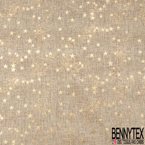 Toile façon Jute Coloris Naturel Imprimé Poussière d'étoiles Paillette Or