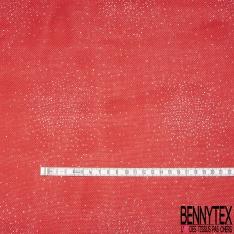 Toile façon Jute Coloris Rouge Imprimé Point Paillette Argent