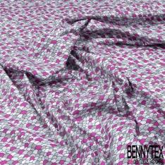 Coton imprimé Motif écaille ton gris et rose