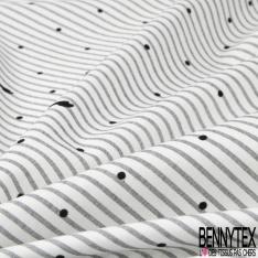 Coton imprimé Motif rayure gris perle et pois velours noir