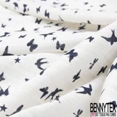 Fibrane Viscose Imprimé Motif papillon et oiseau Fond blanc cassé rayé blanc