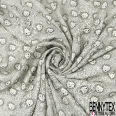 Fibrane Viscose Imprimé Motif loup Fond blanc cassé pois noir LUREX