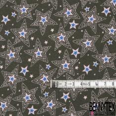 Crêpe Viscose Imprimé Motif étoile bleu électrique et rose Fond kaki