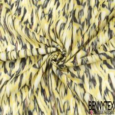 Voile de Coton Imprimé Motif zèbre fantaisie jaune kaki et noir