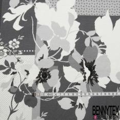 Jersey Viscose Imprimé Motif fleur fantaisie noir et gris
