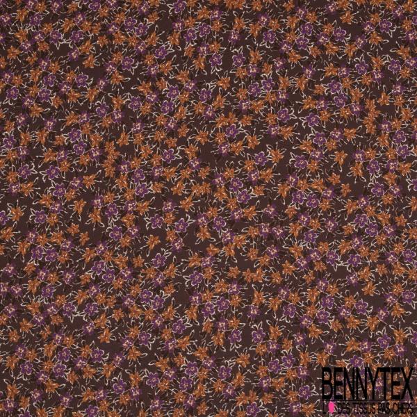 Crêpe Polyester Imprimé Motif fleur ocre et violette Fond choco