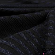 Coupon 3m Maille Jacquard Motif Rayure noir et bleu