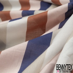 Voile de Coton froissé Imprimé Motif rayure brique rose clair beige et bleu