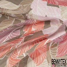 Coupon 3m Mousseline Voile Polyester Motif feuille multicolore Fond taupe LUREX