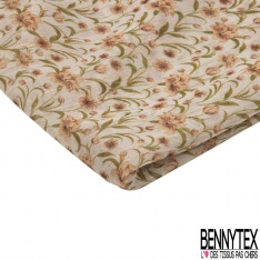 Coupon 3m Mousseline Voile Polyester Motif fleuri saumon Fond ivoire LUREX