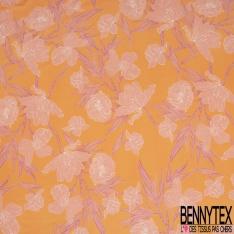 Coupon 3m Satin Polyester Imprimé Motif fleur pêche Fond orange
