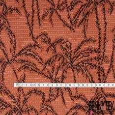 Coupon 3m Maille Jacquard Motif palmier Fond orange