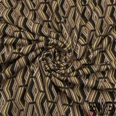 Coupon 3m Maille Jacquard Motif losange camel jaune noir beige