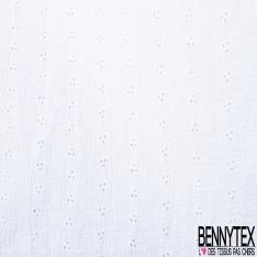 Coton Double Gaze Broderie Anglaise Florale Blanc Optique