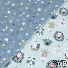 Coton Matelassé imprimé Recto étoiles Fond bleu Verso têtes d'animaux Fond bleu clair