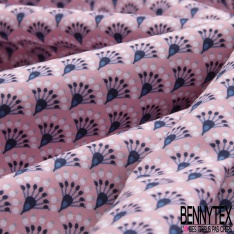 Coton imprimé motif éventail japonisant ton rose et marine