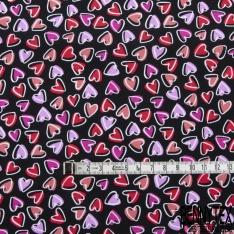 Coton imprimé Motif coeur rouge mauve fuchsia Fond noir