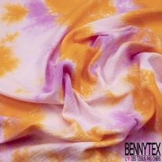 Double Gaze de Coton Imprimé Motif Tie and Dye orange lilas et mauve