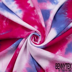 Double Gaze de Coton Imprimé Motif Tie and Dye fuchia indigo et rose