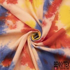 Double Gaze de Coton Imprimé Motif Tie and Dye marine saumon jaune et orange