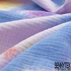 Double Gaze de Coton Imprimé Motif Tie and Dye lilas violet orange jaune et bleu