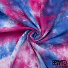 Double Gaze de Coton Imprimé Motif Tie and Dye bleu électrique fuchsia et rose pâle
