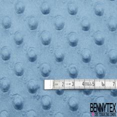 Minky Pois effet Gaufré Uni bleu indigo