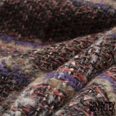 Laine Natté Tressée camel corail violet